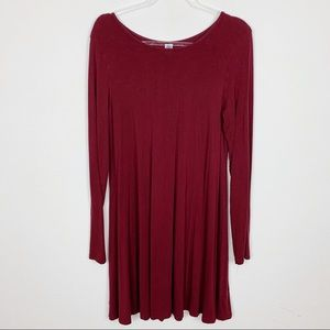 Old Navy Maroon Long Sleeve Casual Dress Sz L